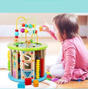 Montessori Early Childhood Learning Educationa Toy Multi-Function Six-Sided Large Round Bead Treasure Box Puzzle Beaded Math Toy