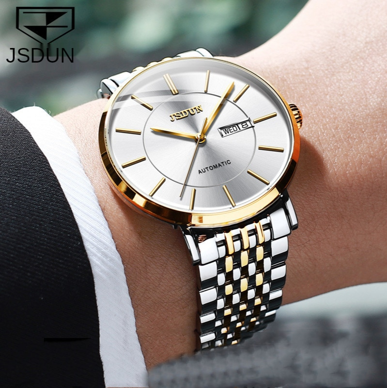 رقيقة نوع كامل التلقائي ساعة ميكانيكية مقاوم للماء مزدوجة التقويم ساعة رجالي