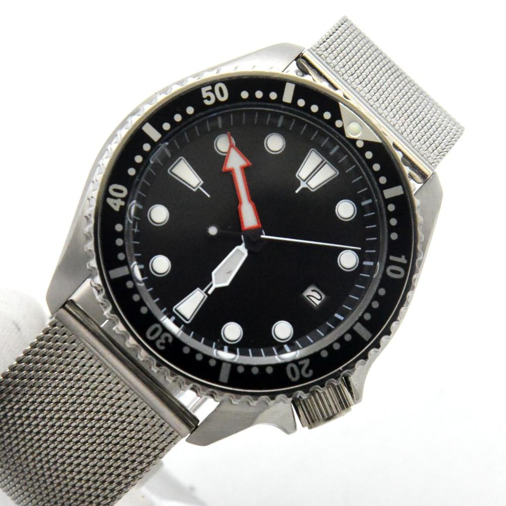 العقيمة الهاتفي SK007 الغوص ساعة ميكانيكية الرجال التلقائي ساعة ميكانيكية NH35A حركة 4 ساعة تعديل رئيس