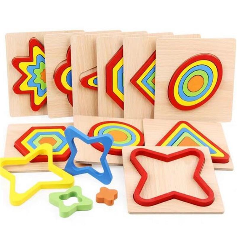 Форма познание доска Детские пазлы деревянные игрушки детские развивающие детские игрушки Монтессори обучения матч Кирпичи Игрушки