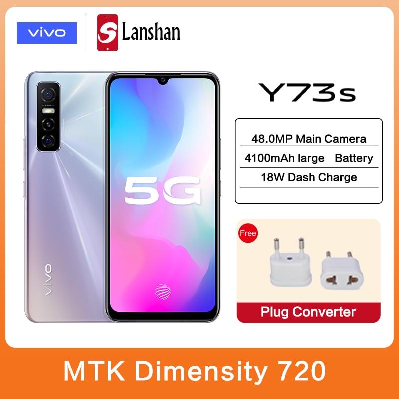 Перейти на Алиэкспресс и купить Оригинальный vivo Y73s 5G мобильный телефон 8 ГБ 128 MTK 720 4100 мА/ч, Батарея 18 Вт зарядки 48MP тройной камеры заднего активно-матричные осид, для мобильн...