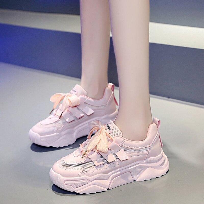 Zapatillas de deporte de plataforma de malla cómodas transpirables rosadas, zapatos casuales de encaje, novedad de 2020, zapatos de papá encantadores para mujer a la Moda de Primavera