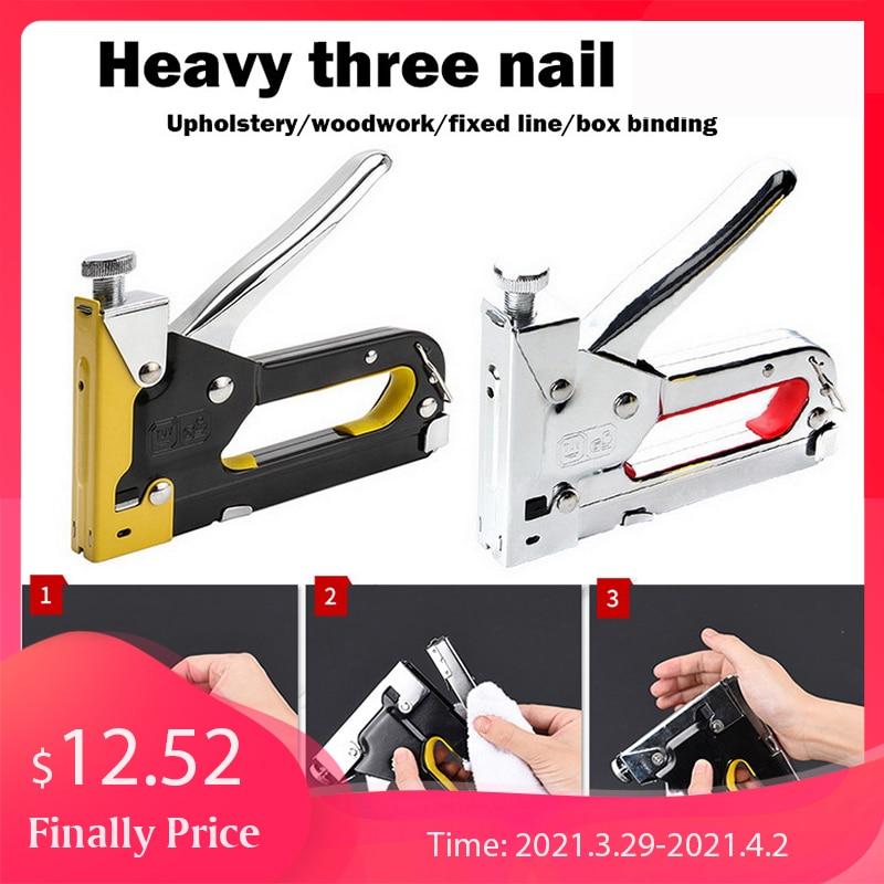 3IN1 Heavy Duty Staple Gun for DIY Home Decoration Furniture Stapler Manual Nail Gun Hand Operated Steel Stapler 1000 Brad Nails