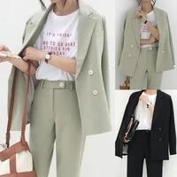 vintage autumn winter thicken women pant suit light green notched blazer jacket pant office wear women suits female sets