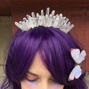 Quartz Crystal Hairpin Accessories Crown Silver Headband Elegant Rainbow Bridal Mermaid Jewelry Pins Hair Pick Princess
