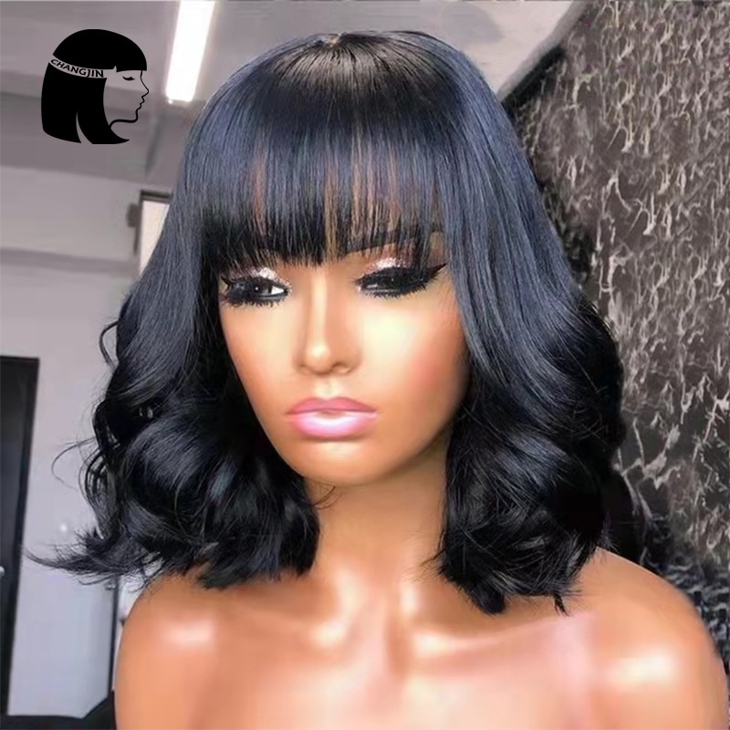 Natural Color Full Machine Made Wigs With Bangs Short Bob 12Inch 14Inch Remy Brazilian Human Hair Wi