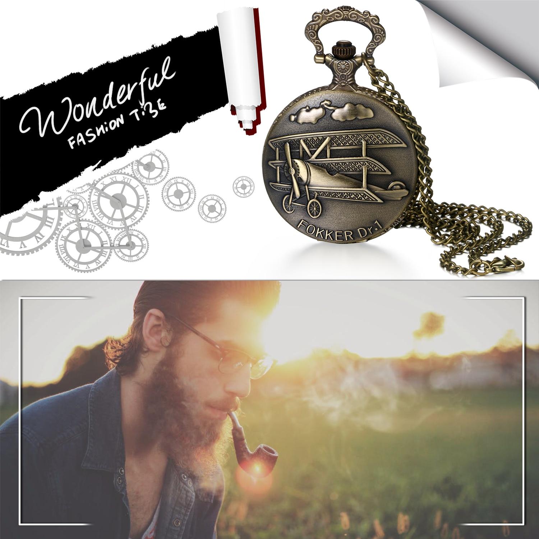 BONISKISS Vintage Bronze Steampunk Pocket Watch Quartz Necklace Pocket & Fob Watches Chain Men Women Clock Christmas Top Gifts