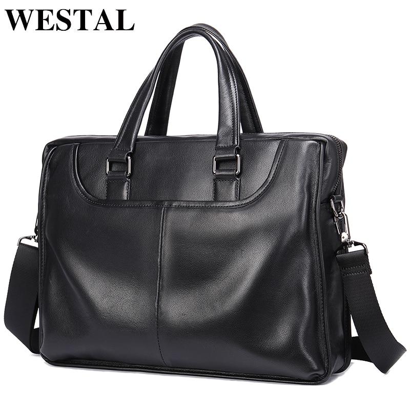 WESTAL Men Briefcases Men's Genuine Leather Laptop Bag Office Bag for Men Leather Briefcases Bag for Documents Business Handbags