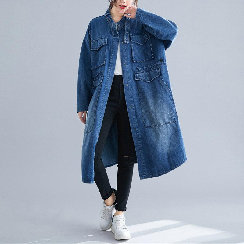 Denim Jacket Casual Windbreaker Jeans Long Coat Women Autumn Large Pocket Loose Cardigan Plus Size Vintage Mujer Chaqueta f1666