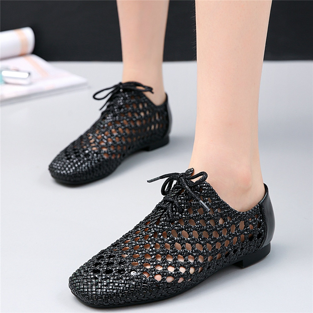 Gladiator Sandals Women Lace Up Flats Heel Ankle Boots Female Hollow Square Toe Loafers Low Top Platform Oxfords Casual Shoes  - buy with discount