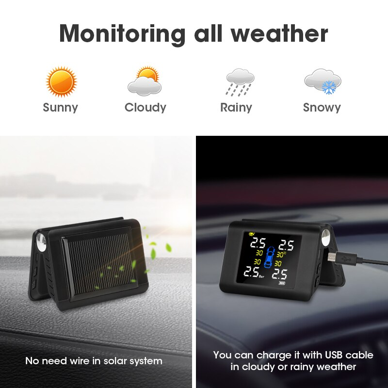 Jansite TPMS Wireless Car Tire Pressure Monitoring Intelligent System Solar Power LED Display with 4 Built-in or External Sensor enlarge