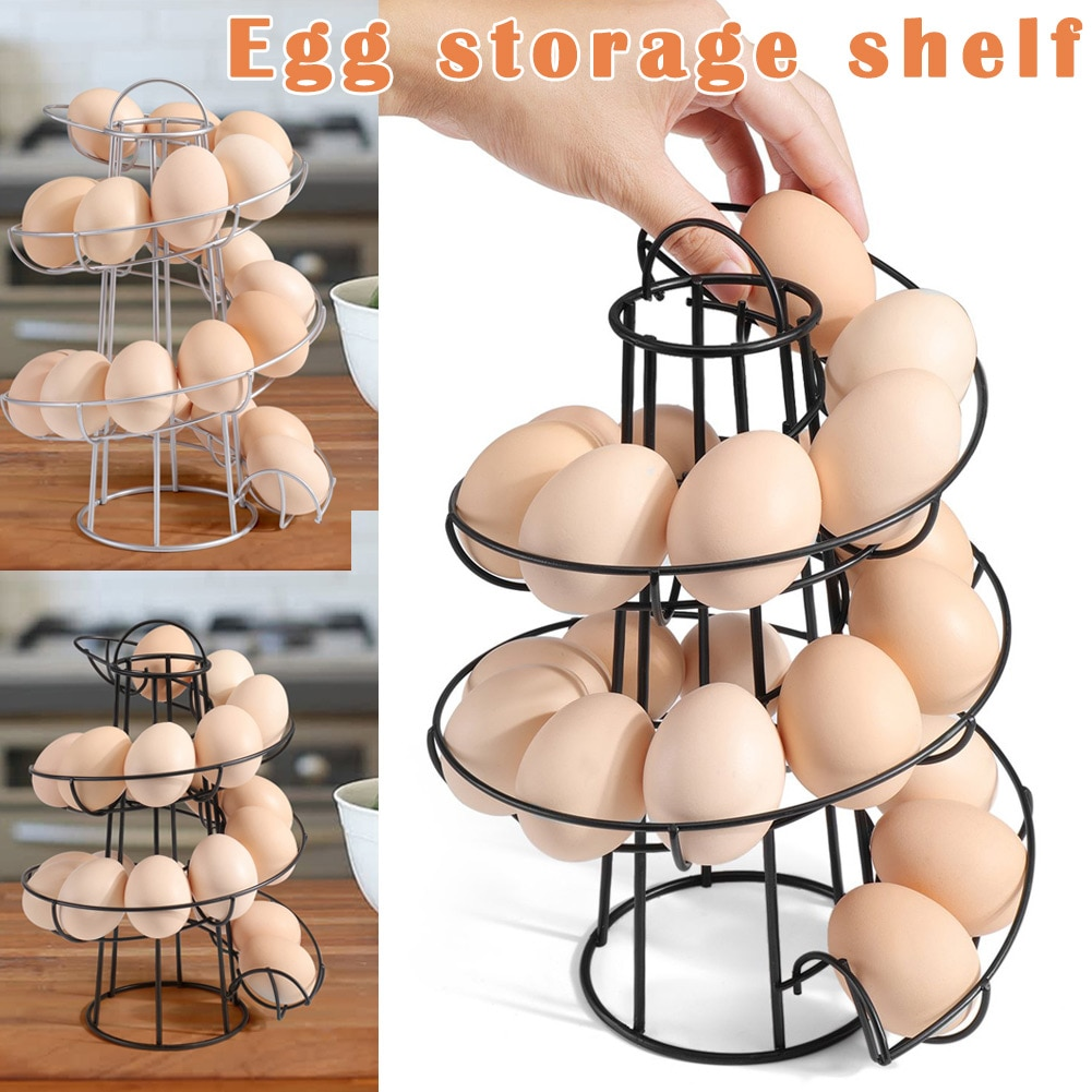 Soporte para huevos dispensador en espiral moderno estante de almacenamiento ahorra espacio para cocina LBShipping