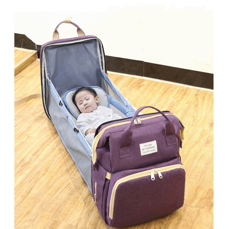 2 IN 1 Portable Crib Nappy Bag Baby Care Changing Diaper Bag Stylish Folding Crib Nappy Bags Mummy Maternity Nappy Bag