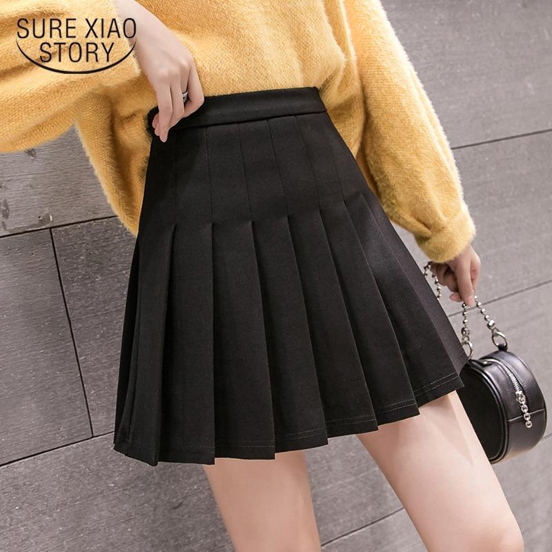 Faldas mujer moda 2019 faldas mujer mini falda de mujer faldas mujer moda invierno Casual alta cintura Falda plisada 7745 50
