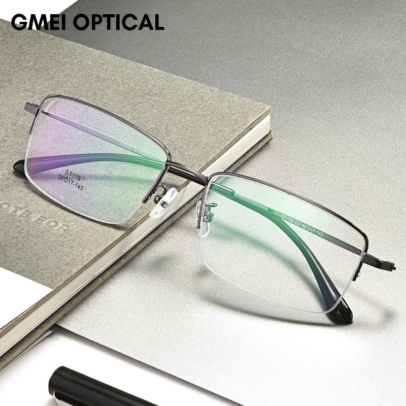 Titanium Alloy Half Rim Prescription Glasses Business Men Square Semi Rimless Myopia Optical Frame E