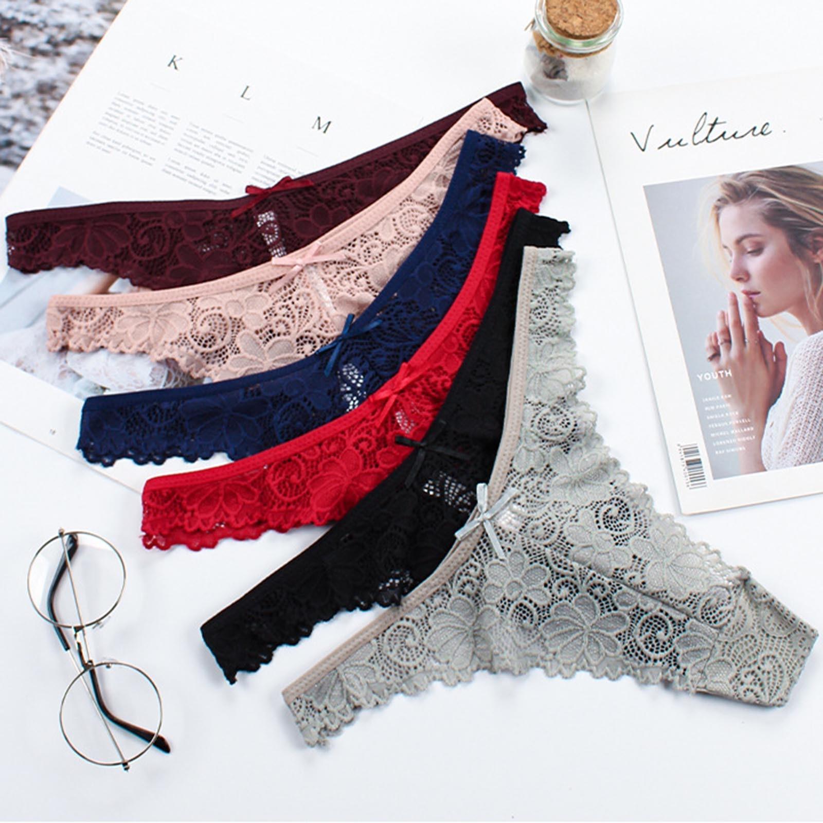 Tangas sexys de encaje Floral para mujer, ropa interior de algodón, bragas de cintura baja, lencería Sexy con lazo, XL