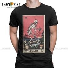 Death Tarot Men t-shirty wróżbiarstwo okultystyczna karta magiczna czarownica koszulka rekreacyjna koszula okrągły kołnierzyk koszulki bawełniane letnie ubrania