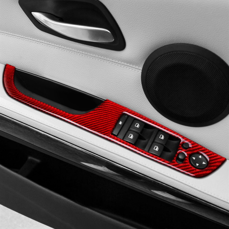 Botões da janela do braço da porta de fibra carbono quadro decorativo capa guarnição para bmw série 3 e90 e92 e93 rhd lhd acessórios interiores
