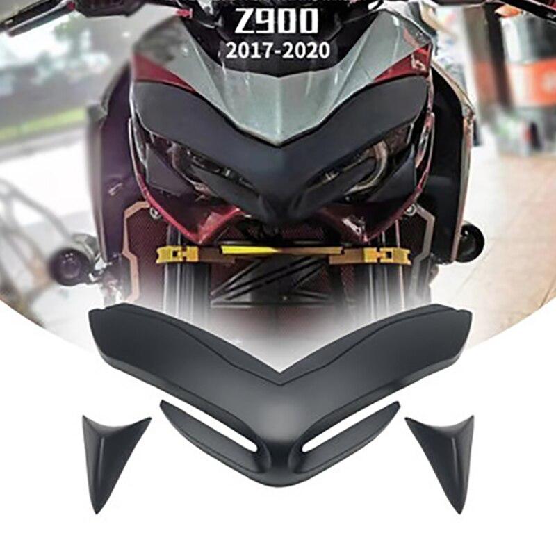 for Kawasaki Z900 Block Fixed Wing Into Shark Fin Front Fairing Aerodynamic Wiglets Motorcycle Modified Headlight Decorative