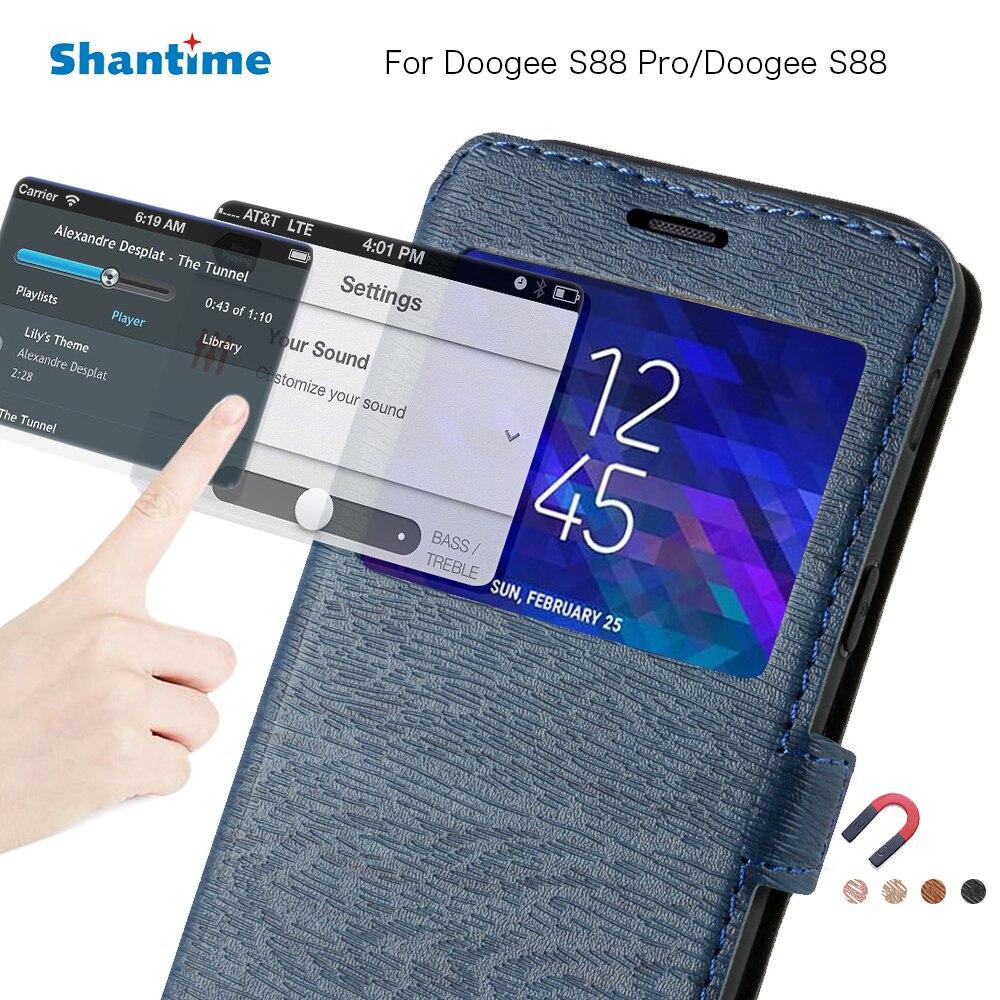 Funda de teléfono de cuero de poliuretano para Doogee S88 Pro, funda abatible para Doogee S88, funda de libro Ventana de vista, funda trasera de silicona de TPU suave