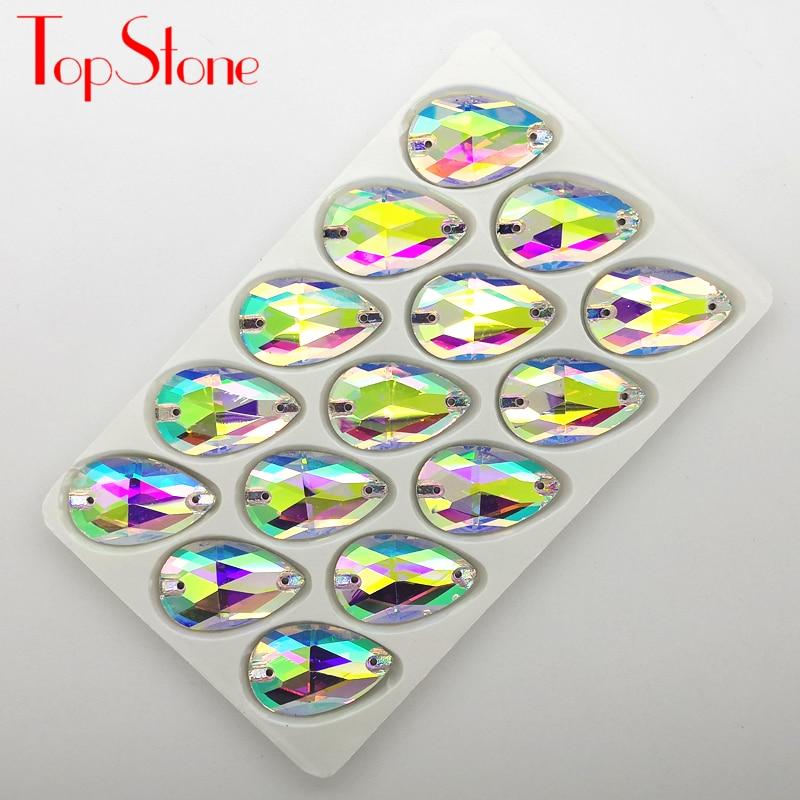 Toplone 3230 # gota cristal ab strass costurar em pedra de vidro lágrima tamanho 7x12 11x18 13x22 13x18 17x28 22x38 para diy dança