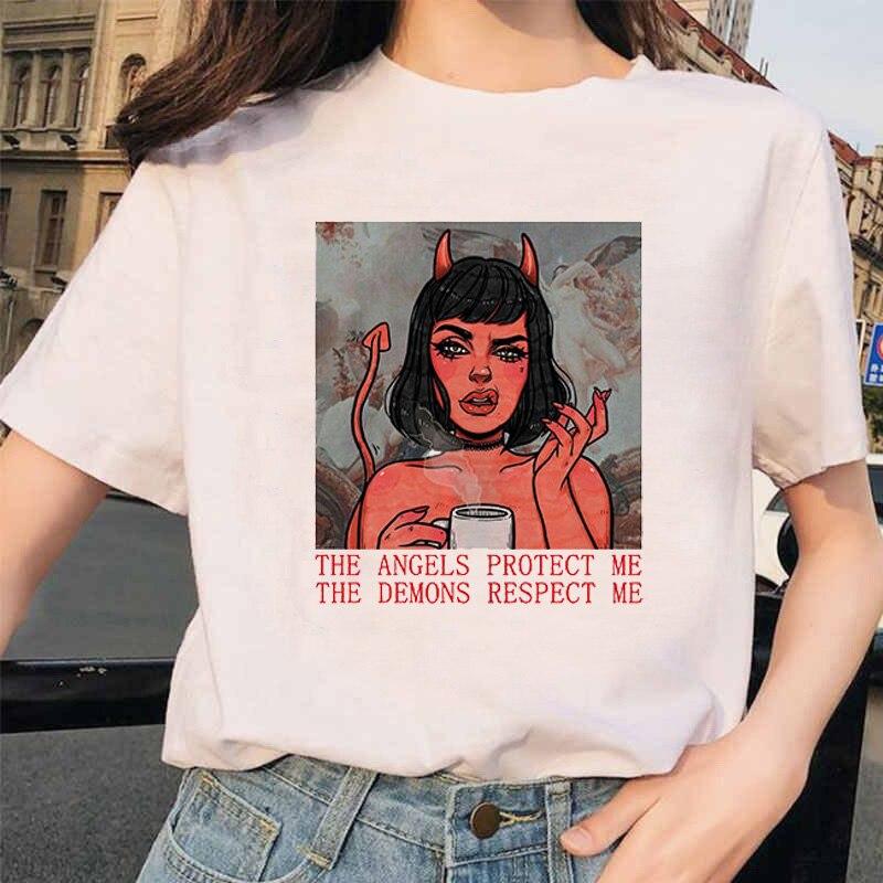 Camiseta Coreana de manga corta informal de moda de verano para mujer de the demons