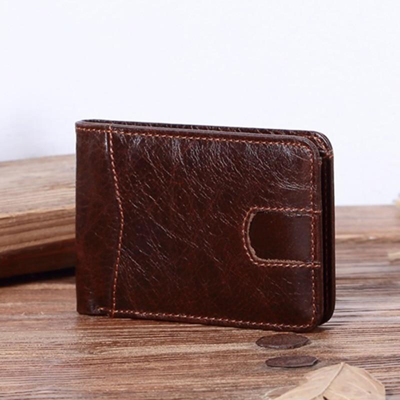 Genuine Leather Money Clip Wallet Men Vintage Cow Leather Money Cards Organizer New Design Dollar Clip Wallets