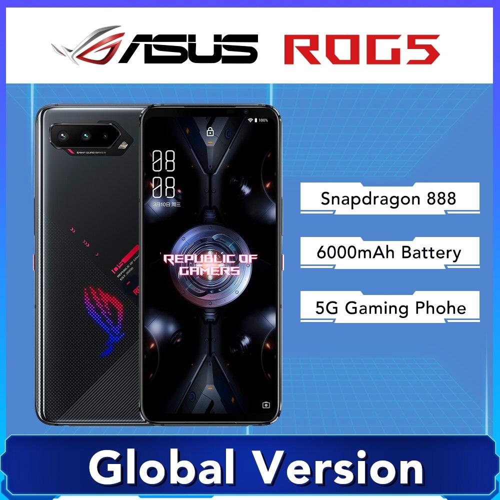 Глобальная версия Asus ROG 5 5G игровой телефон 6,78 дюйм 144 Гц активно-матричные осид, Дисплей Snapdragon 888 6000 мАч быстрой зарядки 65 Вт ROG5 мобильный телефон