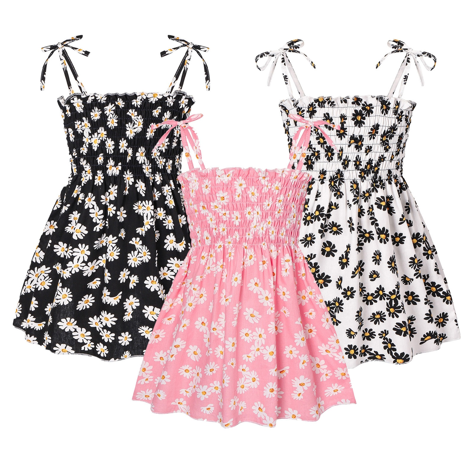 2021Fashion Kids Girl Dress Casual Floral Beach Dress Baby Children Girl Summer Clothes Floral Princ