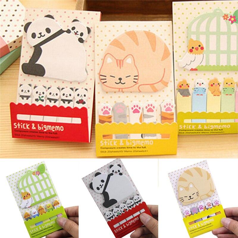 10.5*5.5 centímetros Bonito do Animal do Kawaii Gato Panda Notas Memo Pad Escola Suprimentos Papelaria Planejador Adesivos de Papel Bookmarks
