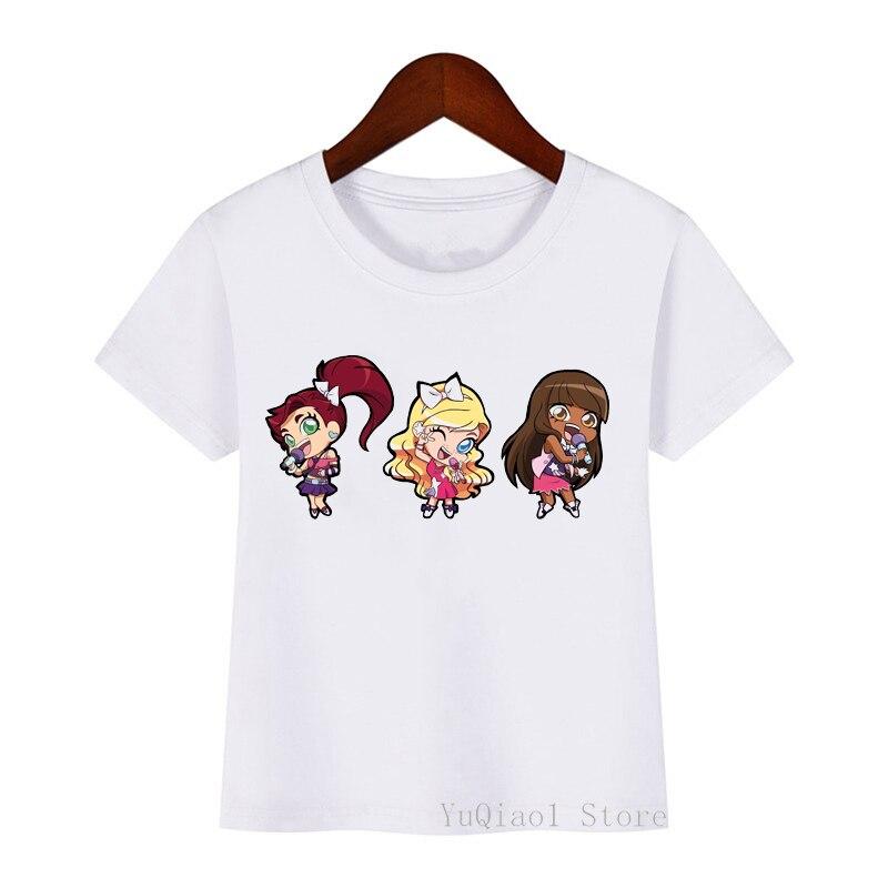 Bonita camiseta bratz con estampado de dibujos animados para niñas, divertida camiseta blanca de moda para niños, camisetas de verano a la moda para niñas, camiseta de regalo de cumpleaños