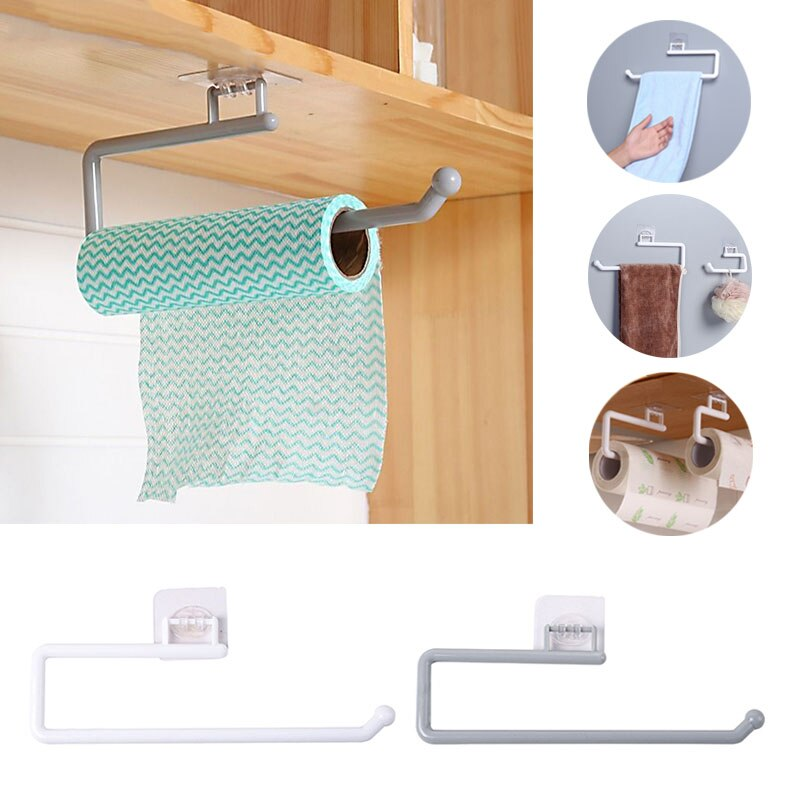Kitchen Paper Roll Holder Towel Hanger Rack Bar Cabinet Rag Hanging Holder Bathroom Organizer Shelf Toilet Paper Racks self adhesive roll paper holder bathroom toilet paper holder kitchen towel holder rack tissue hanger rack hanging organizer