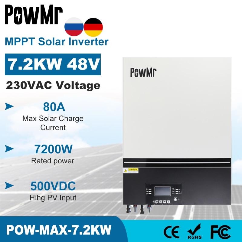 PowMr 7.2 KWHybrid العاكس للطاقة الشمسية 230 فولت 48 فولت 500Vdc PV المدخلات 80A شاحن طاقة شمسية MPPT المدمج في واي فاي دعم ليثيوم BMS Inversor