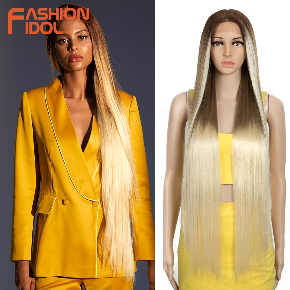 FASHION IDOL 38 inch Straight Long Synthetic Wigs For Black Women High Temperature Fiber Ombre Blonde Highlight Cosplay Wigs