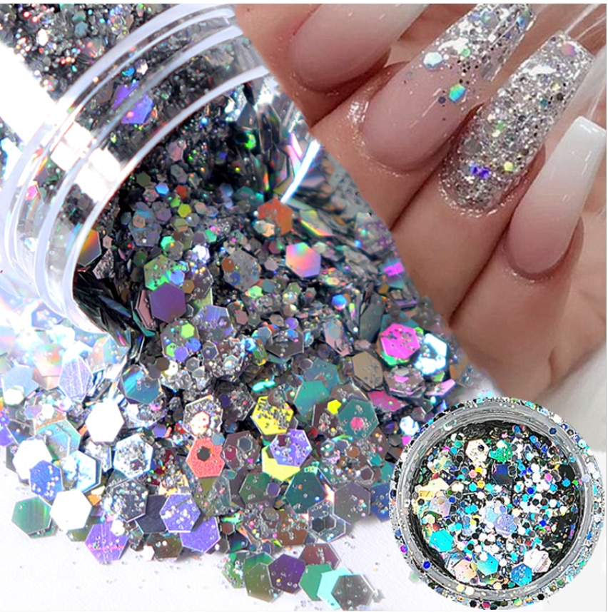 1Box Nail Mermaid Glitter Flakes Sparkly Holographic Mix Laser Hexagon Colorful Sequins Spangles Polish Manicure Nails Art Decor недорого