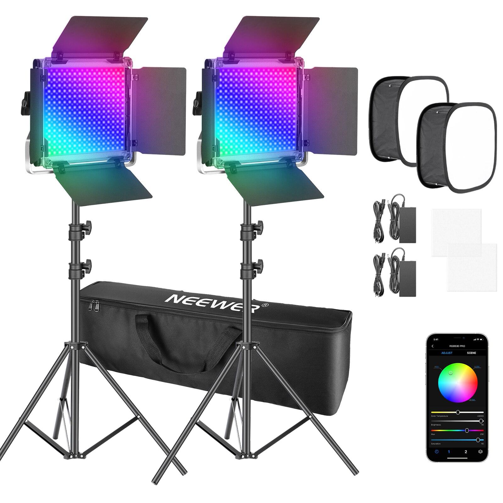 Neewer 2 حزم 530 برو RGB Led ضوء الفيديو مع APP التحكم الفوتوغرافي Softbox كيت ، 360 ° كامل اللون ، 45W فيديو الإضاءة CRI 97 + ل يوتيوب