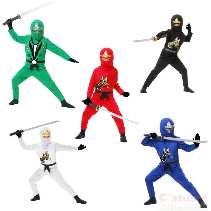 Crianças novas traje de halloween ninja macacão fantasia festa vestir-se ninjago traje de super-herói