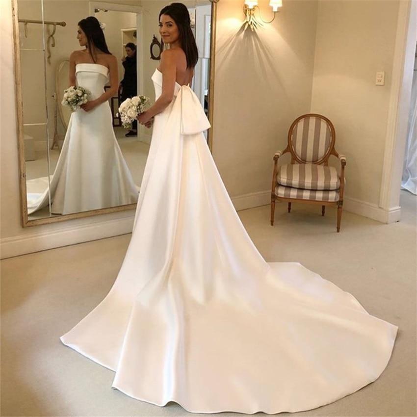 Get Simple A-line Wedding Dresses Strapless Court Train Satin Bridal Gowns Backless Vestido De Noiva Charming Robe De Mariee