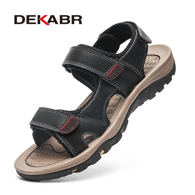 DEKABR الرجال الصنادل الصيف المفتوحة تو أحذية منصة عدم الانزلاق الشاطئ حذاء كاجوال اليدوية في الهواء الطلق الصنادل ل أحذية رجالي
