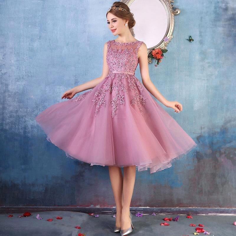 فستان سهرة أنيق عالي الجودة فستان قصير ضيق للحفلات من الدانتيل فستان قصير للأخوات فستان وصيفة العروس A256