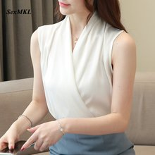 Blusas Mujer de Moda 2020 패션 시폰 블라우스 여성 민소매 화이트 탑과 블라우스 Office Ladies Streetwear Black Shirts