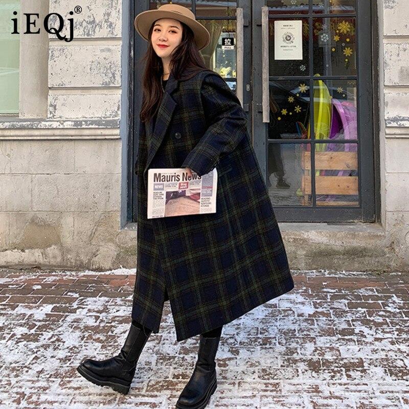 IEQJ 2021 شتاء جديد النسخة الكورية من الأزرق الداكن منقوشة مزدوجة الصدر مزاجه التلبيب معطف الصوف الرجعية طويلة النساء 3F0772