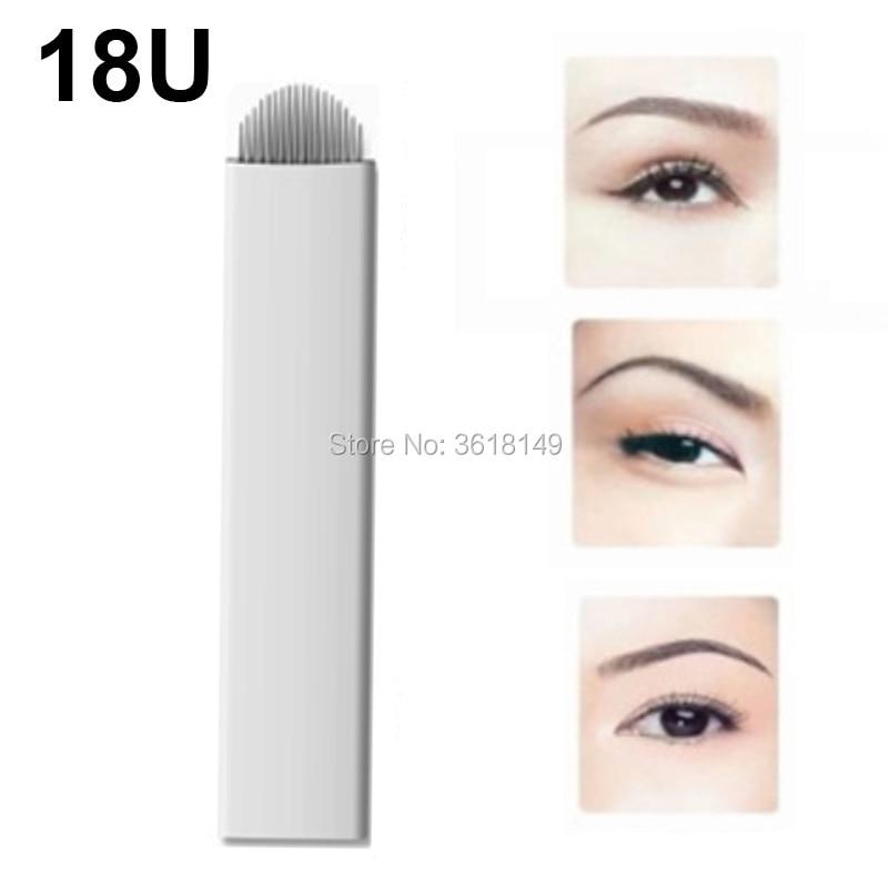 100pcs Lamina Tebori 18U 0.2mm Microblading Needles for Permannet Makeup Stainless Steel Tattoo Blad