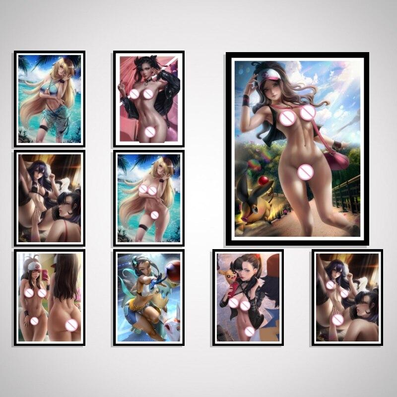 Marnie-Póster de Pokemon Girl para decoración de pared, imagen de dibujos animados Kawaii Anime Sexy, arte desnudo, decoración de seda para sala de estar