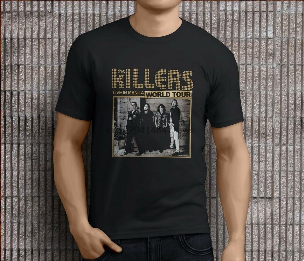 Novo popular the killers tour rock band masculino camisetas pretas S-3XL