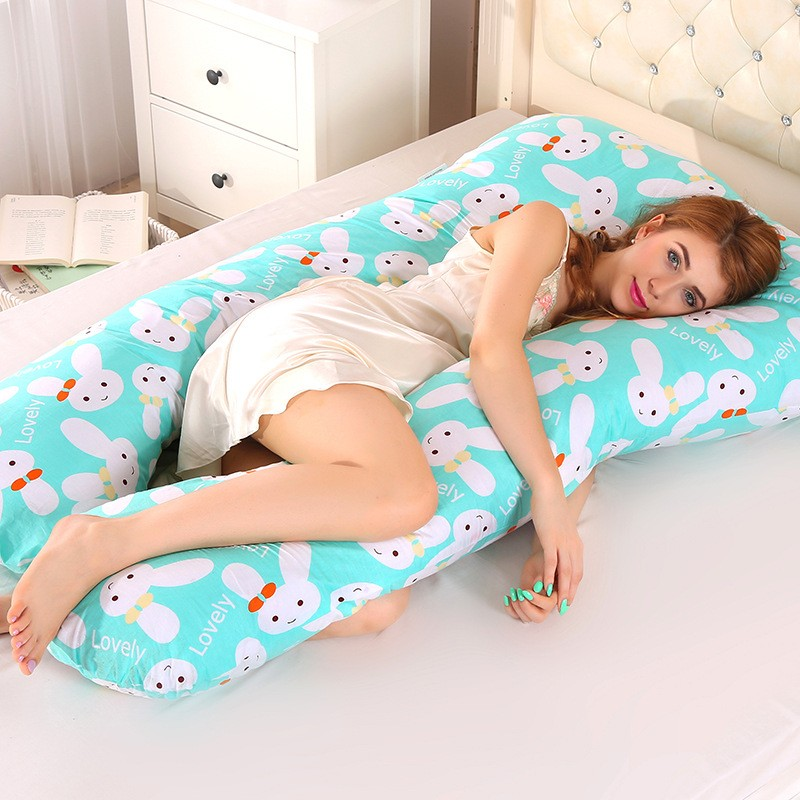2021 Sleeping Support Pillow For Pregnant Women Body 100% Cotton Rabbit Print U Shape Pillows Maternity Pregnancy Side Sleepers