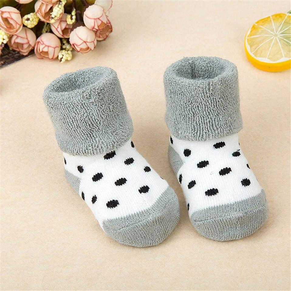Толстые махровые носки, Мультяшные нескользящие носки для новорожденных, детские носки для пола, теплые носки для младенцев