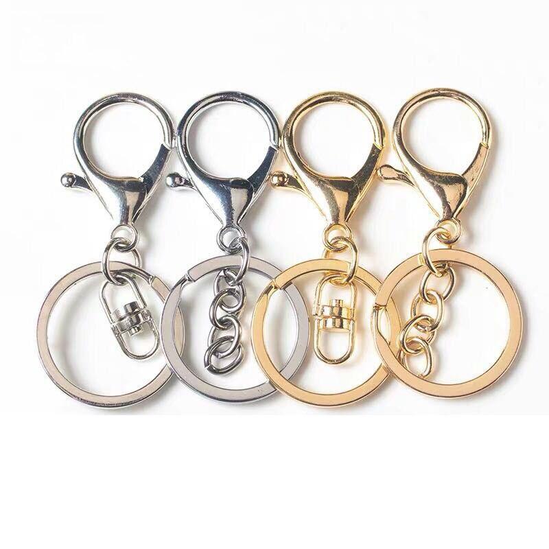 LLavero de aleación con cierre de langosta, 5 unidades por lote, llavero giratorio, accesorios personalizados DIY con cadena de extensión de llave
