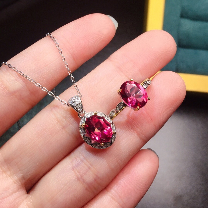 925 Sterling Silver Jewelry Sets for Women Gemstone Bridal Rubellite Ring Pendant Necklace Wedding Engagement