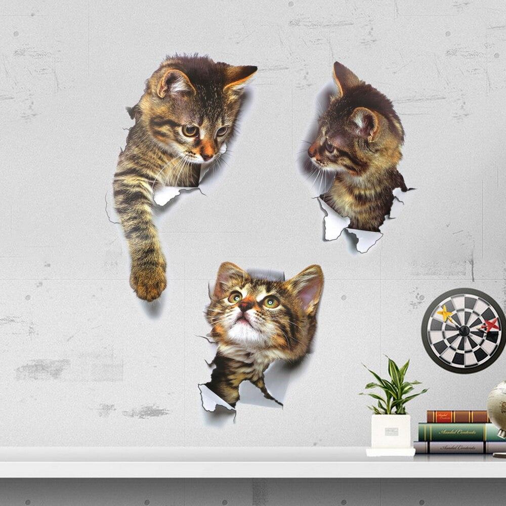 NICEYARD casa decoración baño pegatinas 3D gatos vivos agujero ver Animal vinilo calcamonías de pared adhesivo decoración cartel